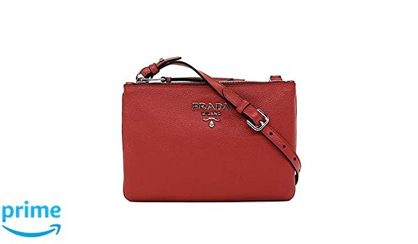 e05441d59fa6 Prada Women's Red with Silver Hardware Vitello Phenix Leather Crossbody  Handbag Bag 1BH046: Handbags: Amazon.com