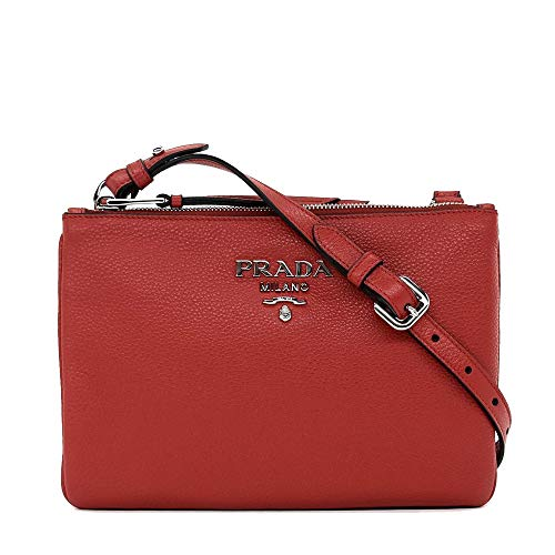 Prada Women's Red with Silver Hardware Vitello Phenix Leather Crossbody Handbag Bag 1BH046