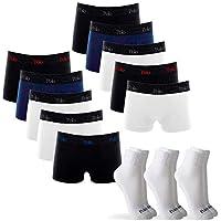 Kit 10 Cuecas Boxer de Cotton 4.0 com 3 Pares de Meia Cano Médio Branca G - POLO Match