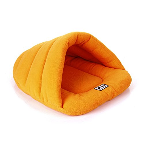 Bed Donut Luxury Dog (VANDOT Pet Bed cushions Dog Bed Pet Cat Bed, Bolster Donut Lounge Cuddler Dog Sleeping Bag, Half-Covered Bed Dog Cushion,Orange, XS-2838cm(11.02