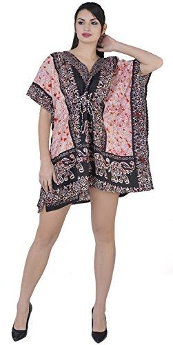 SKAVIJ Women's Tunic Viscose Caftan Knee Length Maxi Dress (Free-Size, Black)