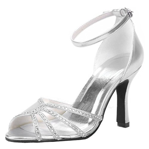 9cm Heel femme mariage tendance Minitoo Chaussures Silver de Ow6paqY