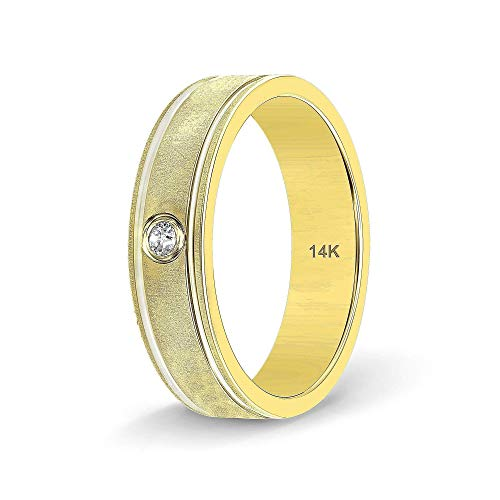 TousiAttar Diamond Band - Handmade 14k or 18 k Gold Rings - Nice Gift Jewelry for Him or Her - Comfort Fit Wedding Bands for Men and Women - Size 6 to 15
