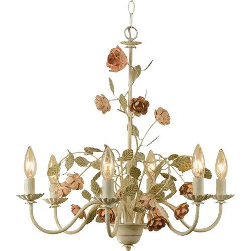 AF Lighting 7050-6H Ramblin' Rose Six Light Chandelier (Antique Rose Chandelier)