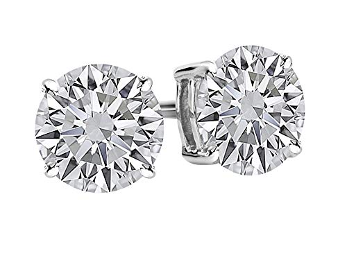 1/2 0.5 Carat Total Weight White Round Diamond Solitaire Stud Earrings Pair set in 14K White Gold 4 Prong Push Back (F-G Color SI1-SI2 Clarity) - Excellent/Ideal ()