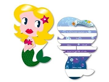 6 Einladungskarten * Meerjungfrau * Für Kindergeburtstag Von DH Konzept //  MEERJE017 //