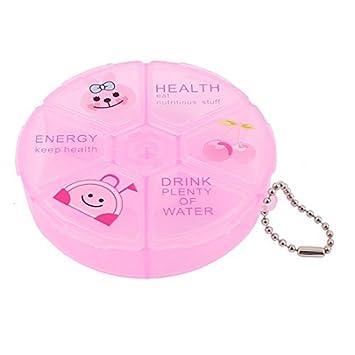 Ronda de plástico 6 compartimentos píldora joyería Caja de almacenamiento Caja rosada - - Amazon.com