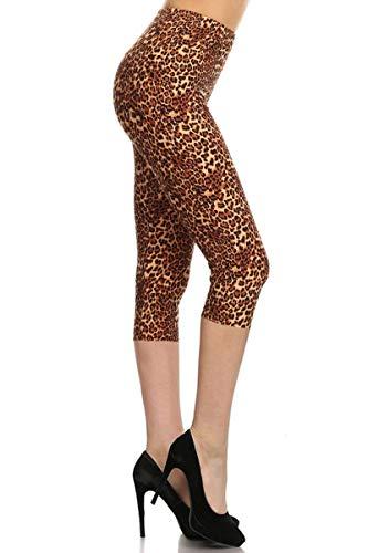 S635-CA-PLUS Leopard Fame Capri Printed Leggings, Plus Size -