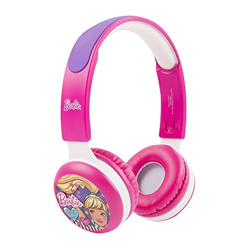(Barbie Kid Safe Headphones HP2-13059 with Volume Limiting Technology for A Safe Listening Experience, 18 Stickers Included, by Sakar, Volume Limiting Technology, Barbie Faceplate Designs, Pink)