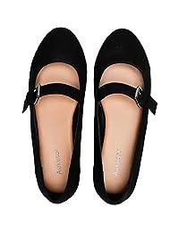 Aukusor Zapatos planos anchos para mujer – Cómodos deslizantes en punta de ballet