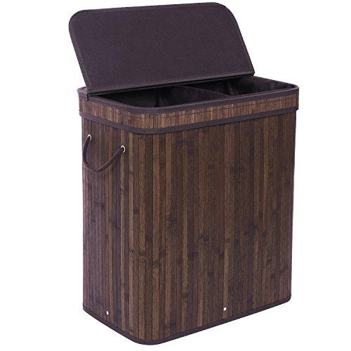 BEWISHOME Divided Bamboo Laundry Hamper Basket w/ Lid Handles and Removable Liner Double Hamper Storage Bin Dirty Clothes Sorter 2 Section Foldable Rectangular, Dark Brown YYL03Z