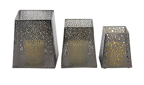Deco 79 57347 Matte Iron Trapezoidal Candle Holders (Set of 3), 5