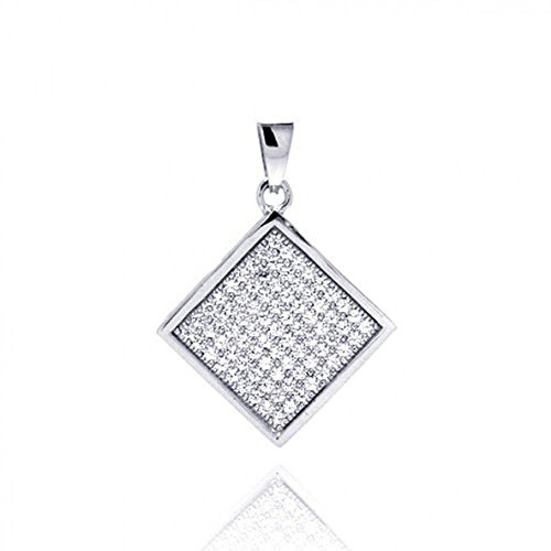 CloseoutWarehouse Cubic Zirconia Square Micro Pave Dangling Pendant Rhodium Plated Sterling Silver