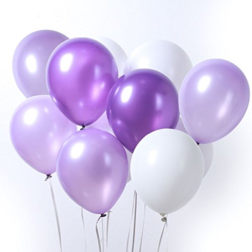 (PartyWoo Purple and White Balloons 100 pcs 12 Inch Dark Purple Balloons Light Purple Balloons White Balloons Birthday Decorations Purple, Purple White Birthday Decorations, Wedding Purple)
