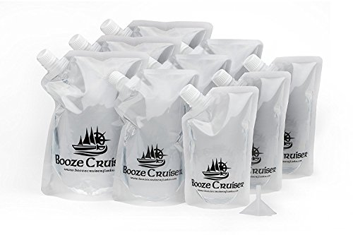 Booze Cruiser Flask Set Perfect For Cruises and Travel or Anywhere You Want a Rum Runner Cocktail Plastic Flask Kit (3x32oz, 3x16oz, 3x8oz + Funnel) by Booze Cruiser