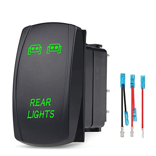 WATERWICH 5 Pin Rear Lights illuminated Rocker Toggle Switch Waterproof with Jumper Wires Set DC 20A 12V/10A 24V Black Shell/ON-OFF SPST Rocker Switch For Auto Truck Boat Marine RV (Green)