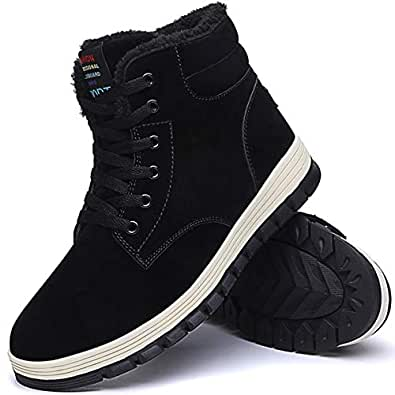 Amazon.com | Aliwendy Mens Winter Snow Boots Fur Lined