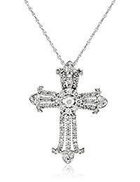 14k White Gold Diamond Cross (3/8 cttw, I-J Color, I2-I3 Clarity)Pendant Necklace, 18""