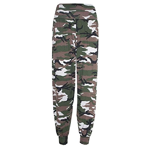 Janisramone mujeres Harem holgado impreso ali baba de tramo pantalones tamaño 8-26 camouflage