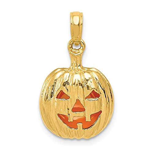 14k Yellow Gold Enameled Inside 3 D Cut Out Pumpkin Pendant Charm Necklace Holiday Halloween Fine Jewelry Gifts For Women For Her