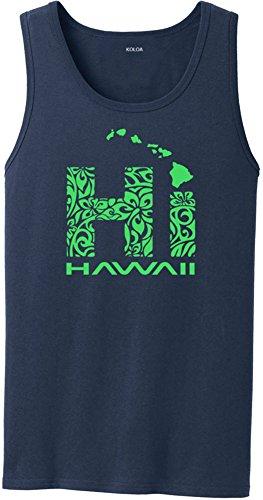 Joe's USA Koloa Surf Hawaiian Tribal Hi Logo Heavyweight Cotton Tank Top-Navy/green-2XL