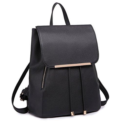 Miss Lulu Ladies Fashion PU Leather Backpack Black