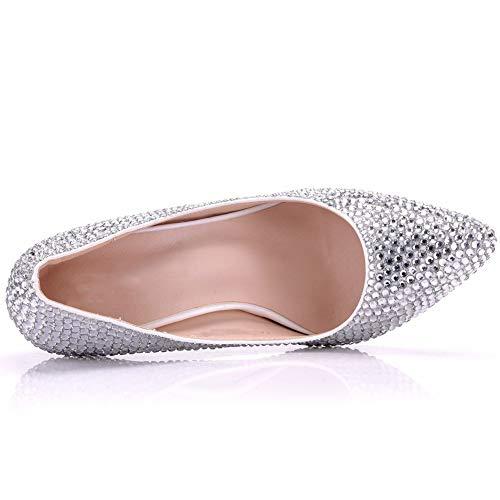 Hlg Alto Punta Para La Con En Corte Tacón Mujer Sandalias Zapatos White Novia Tacones De FqtSpWF