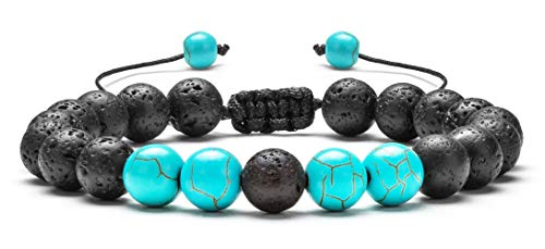 Hamoery Men Women 8mm Lava Rock Aromatherapy Anxiety Essential Oil Diffuser Bracelet Braided Rope Natural Stone Yoga Beads Bracelet Bangle(Turquoise)