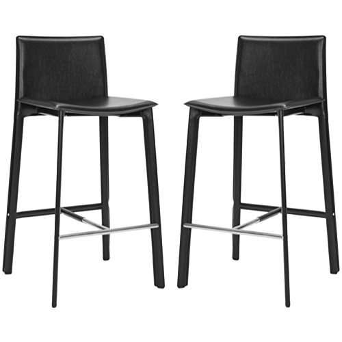 Pleasing Safavieh Home Collection Janet Black Leather 30 Inch Bar Stool Set Of 2 Lamtechconsult Wood Chair Design Ideas Lamtechconsultcom