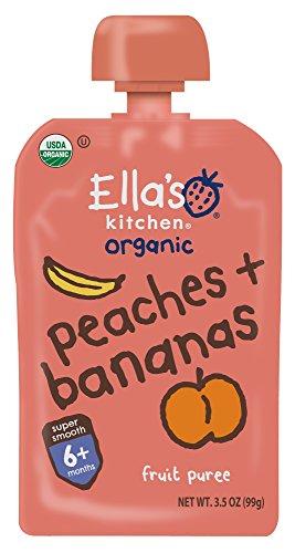 (Ella's Kitchen 6+ Months Organic Baby Food, Peaches + Bananas, 3.5 oz. (Pack of 6))