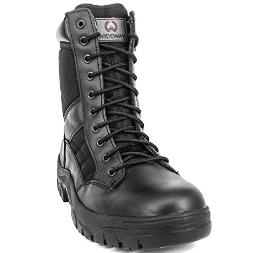 with Zipper Black Resistant Grain Leather Military Boots WIDEWAY Police 8'' Boots Men's Water Full Tactical Side inch Duty 6wFagTq