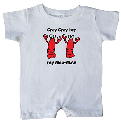 Price comparison product image Inktastic Unisex Baby Lobster Cray Cray for my Mee-Maw Baby Romper by Flossy And Jim 12 Months White