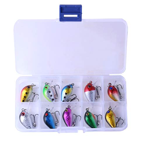 - HENGJIA Topwater Floating Micro Crankbait Kit Artificial Hard Bait for Trout Crappie Panfish Surf Fishing (Set A - 3cm 1.5g)