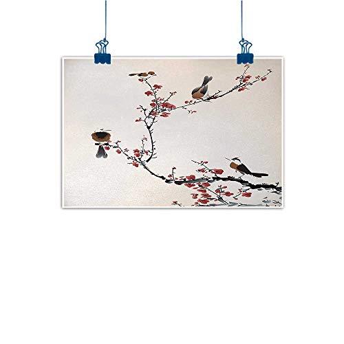 Bar Wine Cherry Hill (Mangooly Wall Art Painting Print Nature,Birds on Cherry Tree Branches Summer Classic Oriental Artful Illustration,Ruby Light Caramel 28