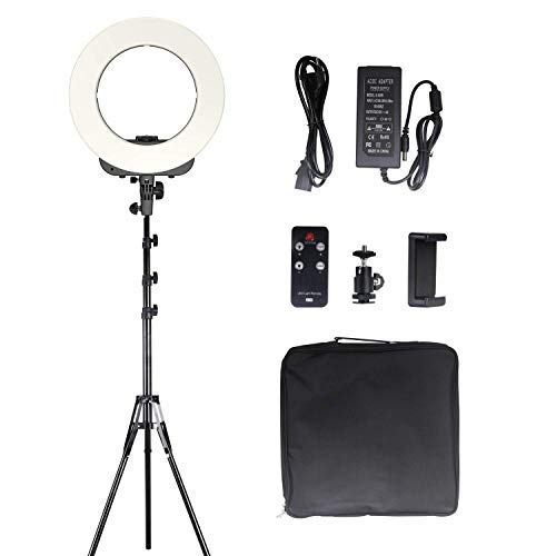 (GEEKOTO 14 inches LED Ring Light with Stand Phone Holder Remote Control, Outer Lighting Kit 38W, 3200K-5500K for Video Shooting Makeup Photography)