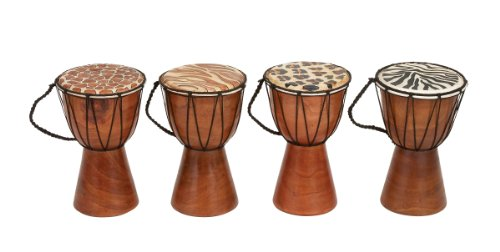 Deco 79 Varnished Wood Drum, 4 Assorted by Deco 79