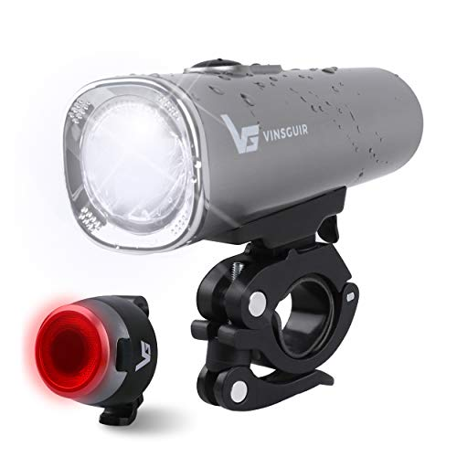 Vinsguir USB Rechargeable Headlight and Tail Light Set, 600 Lumen Brightness, Super Bright Headlight and Rear LED Bicycle Light, Water Resistant, 5 Mode Options Fit All Bicycles Safety - Tail Set Light Headlight