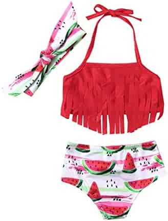 ef64d71449e Toddler Baby Kids Girls Cute Halter Bikini Sets Outfit Watermelon Print  Tassel Two Piece Swimsuits (