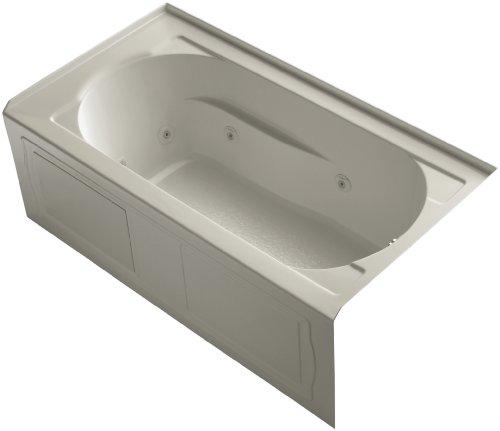 KOHLER K-1357-HR-G9 Devonshire 60-Inch x 32-Inch Alcove Whirlpool Bath with Integral Apron, Tile Flange, Heater and Right-Hand Drain, Sandbar ()