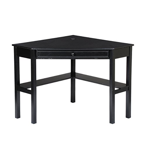 Space Saving Corner Computer Desk - Writing Desk w/Sliding Keyboard - Black Finish