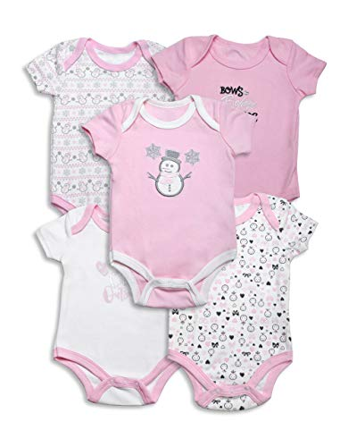 Lily and Page Onesies Baby Girl, 5-Pack Bodysuit for Girls Newborn Onesie Infant Clothes ()