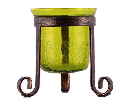 Green Hurricane Candle Holder Tealight Votive Evening Decoration Gift by (Green Glass Hurricane)