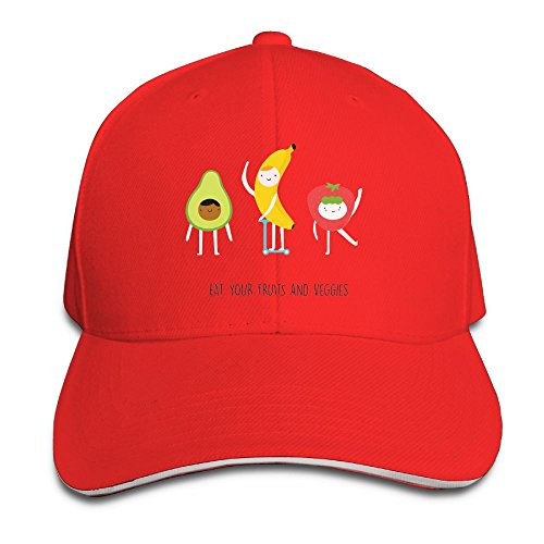43a672d880 FOOOKL Eat Your Fruit and Veggies Cap Unisex Low Profile Cotton Hat  Baseball Caps Red