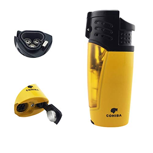Cohiba Cigar Lighter Triple 3 Jet Flame Refillable Butane Torch Lighter with Punch ()