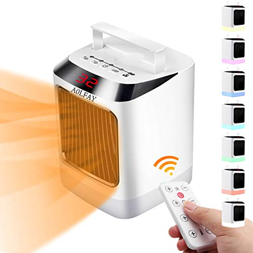 Aolfay Space Heater, Adjustable Thermostat, Tip-Over and Overheat Protection for Home and Office, Compact Size, Low Noise Remote Control Heater With 7-Color LED Night Light