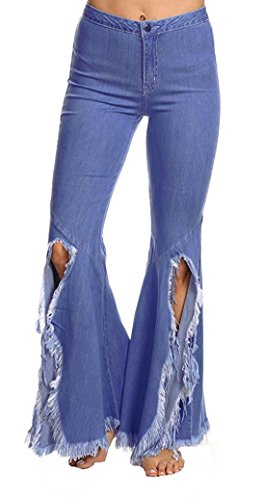 Chartou Women's Asymmetric Tassel Flared Slit Ripped Jeans Denim Pants (Large, Blue) (Flare Jeans Womens Leg)