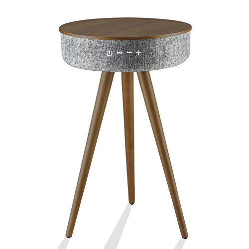 t Table with Bluetooth Speaker and Wireless Charging, 88w Round End Side Coffee Pedestal Table with 6 Louder Speaker,360° Sound Projection with 2 USB Charging Ports, AUX Cable Port ()