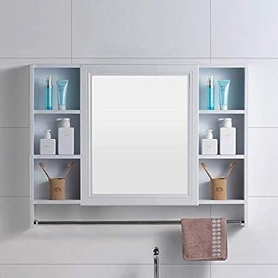 WYKDL Pared de madera Gabinete de almacenamiento con correderas puertas de granero rústico Brown gabinetes de baño muebles de baño de aluminio del espacio de baño con la toalla bar dormitorio de