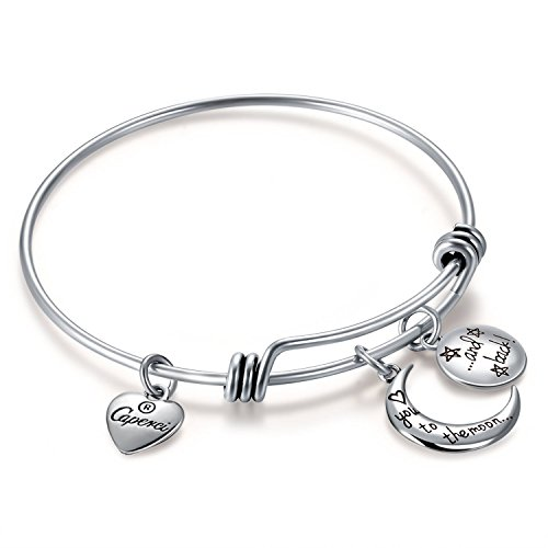 Caperci Silver Love You to The Moon and Back Charm Expandable Wire Bangle Bracelet for Women by Caperci