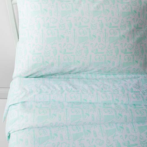 Pillowfort 3 Piece Music Instrument Playful Practice Microfiber Soft Sheet Set Mint Green, Twin